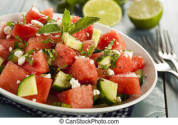 Healthy Organic Watermelon Salad with Mint, Feta, and...