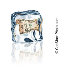 financial crisis - dollar frozen in ice cube, financial...