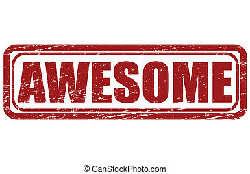 Awesome - Stamp with word awesome inside, vector...