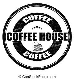 Coffee house - Stamp with text coffee house inside, vector...