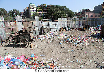 Garbage in Khatmandu - Plastic bags and garbage in...