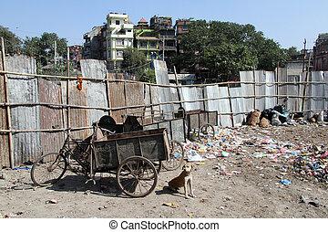Garbage - Three-wheeled bicycle and garbage in Khatmandu,...