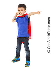 happy superhero kid pointing and ready to fight