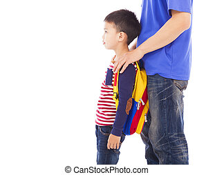 father take kid to go to school