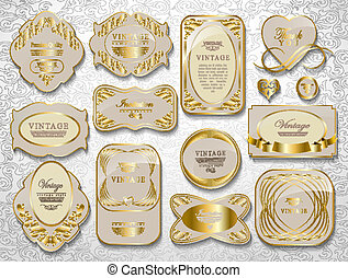 gold card set - gold white card, label set an be used for...