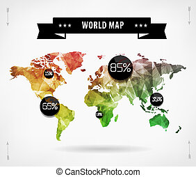 World map infographic template. All countries are selectable...