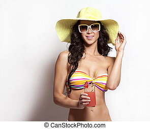 summer beach woman - beautiful woman wearing swimsuit on...
