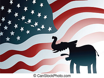 Republican Elephant - A cartoon silhouette of a friendly...