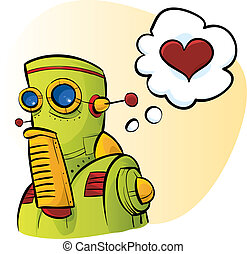 Robot Love - A cartoon robot thinks about love