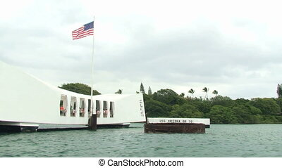 View of USS Arizona Memorial, Pearl Harbor, Hawaii, from...