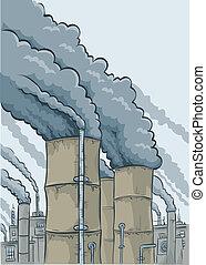 Smokestack Smoke - Thick, black cartoon smoke billows out of...