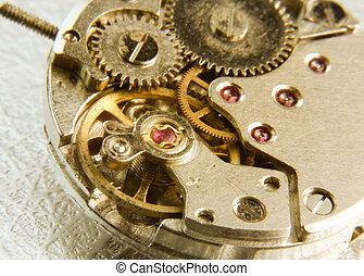 Old watch mechanism - Close up shot of old watch mechanism