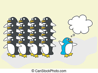One blue penguin thinks differently