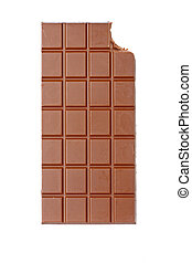 Bitten chocolate bar isolated on white background. Shallow...