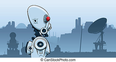 Desolation Robot - A cartoon robot in a desolate future...
