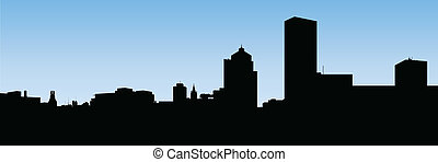 Rochester, New York - Skyline silhouette of the city of...