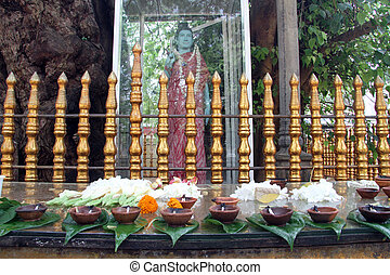 Buddhist shrine under tree in Kataragama, Sri Lanka