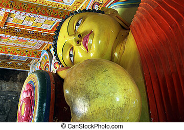 Sleeping Buddha - Head of sleeping Buddha in Isurumuniya...
