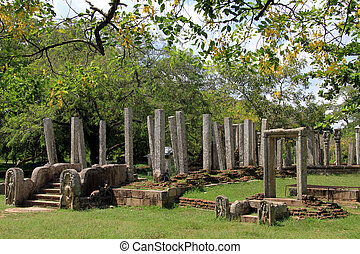 Trees and ruins of buddhist temple in Anuradhapura, Sri...