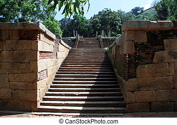Stone staircase - Old stone staircase in Mihintale, Sri...