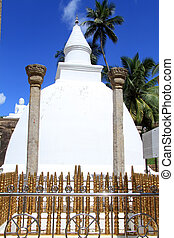 Ambasthala stupa - Golden fence and white Ambasthala stupa...