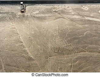 Nazca Lines Hands as viewed from a plane, Nazca, Peru...