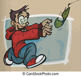 Chasing Money on a Hook - A man with dollar signs in his...