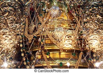 Golden shrine in temple in Mihintale, Sri Lanka