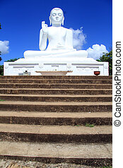 Staircase and Buddha - Long staircase and big Buddha in...
