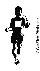 Running the Race - A man dressed for a marathon or 5k runs...