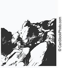 Man running up a mountain