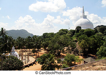 Two stupas - Ambasthala dagaba and Maha stupa in Mihintale,...