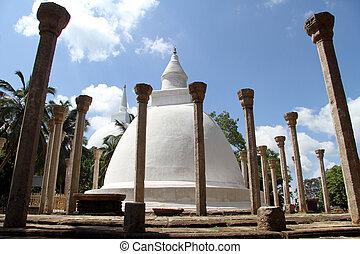 Ambasthala stupa - Ambasthala dagaba with columns in...