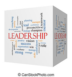 Leadership 3D cube Word Cloud Concept with great terms such...