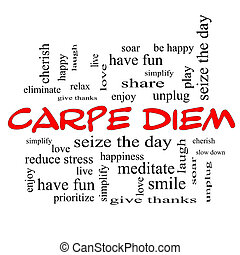 Carpe Diem Word Cloud Concept in red caps with great terms...