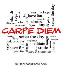 Carpe, Diem, palabra, nube, concepto, rojo, tapas