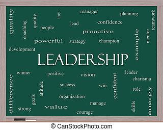 黒板, 概念, 単語, 雲, リーダーシップ