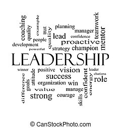 Leadership Word Cloud Concept in black and white with great...