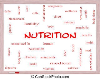 Nutrition Word Cloud Concept on a Whiteboard with great...