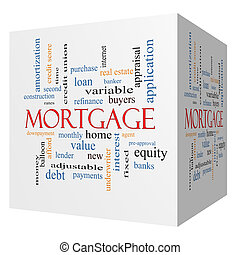 Mortgage 3D cube Word Cloud Concept with great terms such as...