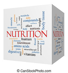 Nutrition 3D cube Word Cloud Concept with great terms such...
