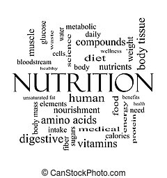Nutrition Word Cloud Concept in black and white with great...