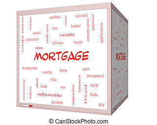 Mortgage Word Cloud Concept on a 3D cube Whiteboard with...