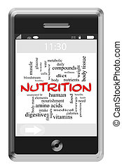 Nutrition Word Cloud Concept on Touchscreen Phone -...