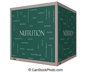 Nutrition Word Cloud Concept on a 3D cube Blackboard with...