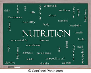 nutrição, conceito, palavra, nuvem, quadro-negro