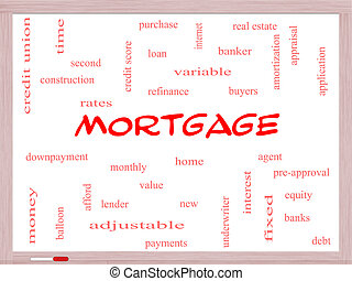 Mortgage Word Cloud Concept on a Whiteboard with great terms...