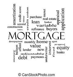 Mortgage Word Cloud Concept in black and white with great...