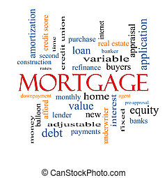 Mortgage Word Cloud Concept with great terms such as loan,...