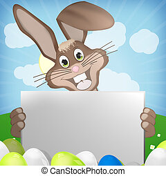 easter bunny with blank board - easter bunny sky background...